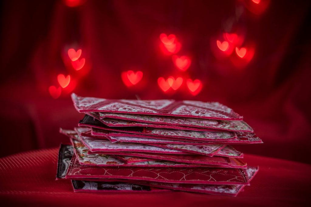 heart postcard stack