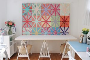 IKEA trestles make just the right table for Machine Quilter frames