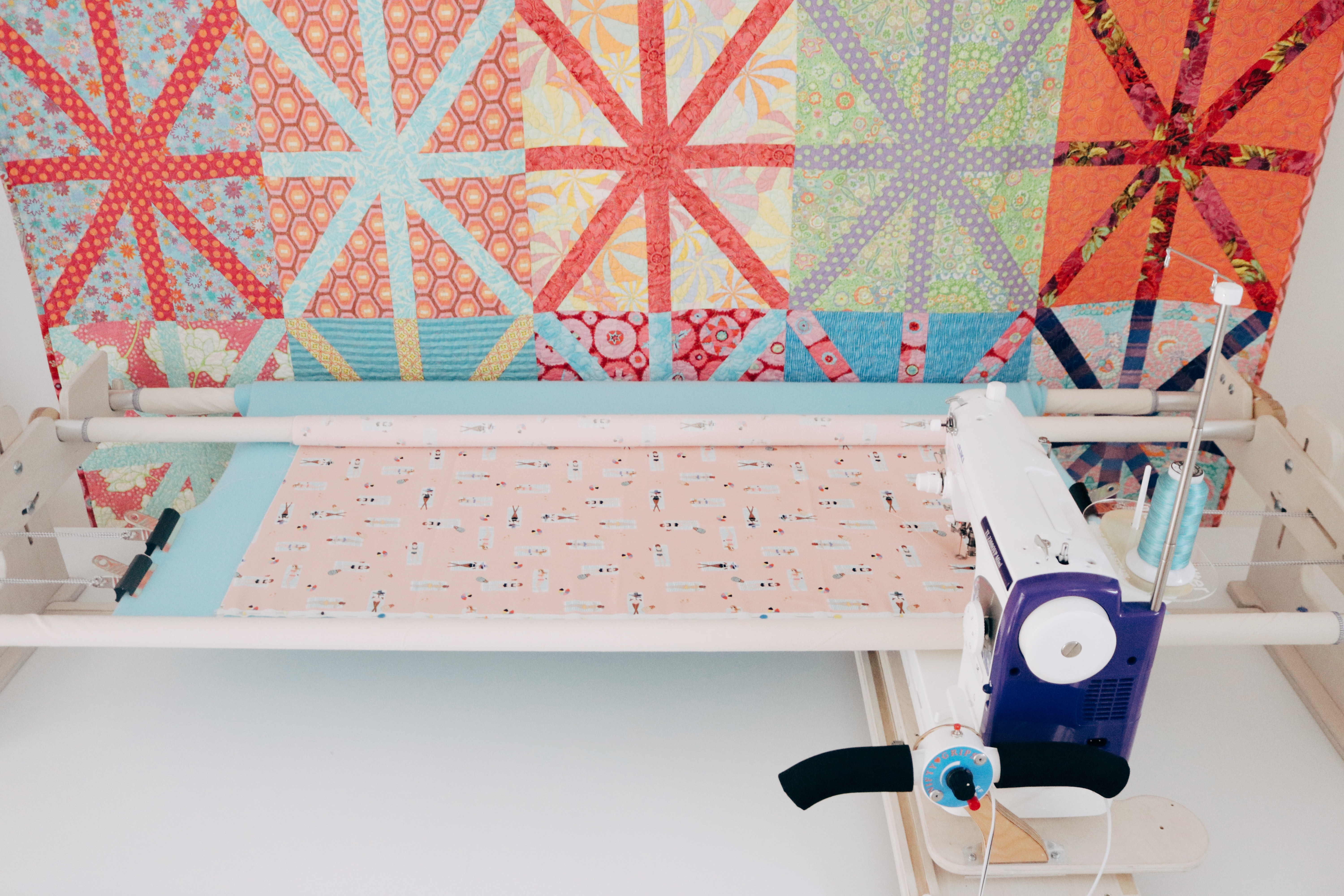 Easily switch between quilting projects with multiple sets of poles.