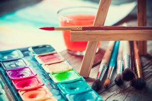 thread becomes paint retro styled easel and paints